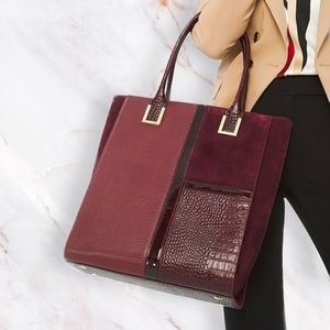 WHBM Exotic Leather Color Block Laptop Tote NEW